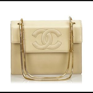 Beige Chanel Lambskin Leather Snake Chain Bag